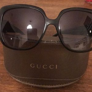 5bfe36ca2a3d Gucci Accessories | 3780 Brown Horn Gold Bamboo Cat Eye Glasses ...